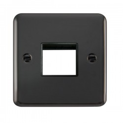 Click Deco Plus Black Nickel 1 Gang Twin Aperture Plate with Black Insert