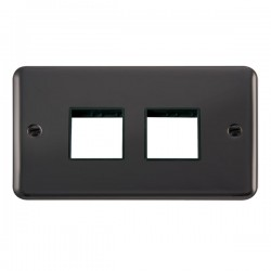 Click Deco Plus Black Nickel 2 Gang 2x2 Aperture Plate with Black Insert
