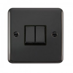 Click Deco Plus Black Nickel 2 Gang 10AX 2 Way Ingot Switch with Black Insert
