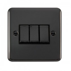 Click Deco Plus Black Nickel 3 Gang 10AX 2 Way Ingot Switch with Black Insert
