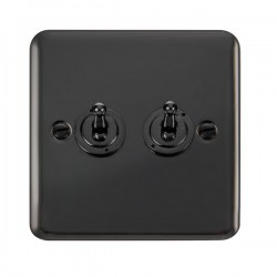 Click Deco Plus Black Nickel 2 Gang 10AX 2 Way Toggle Switch