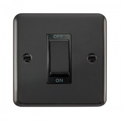 Click Deco Plus Black Nickel 1 Gang 45A Double Pole Ingot Switch with Black Insert