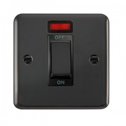 Click Deco Plus Black Nickel 1 Gang 45A Double Pole Ingot Switch with Neon and Black Insert