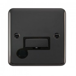 Click Deco Plus Black Nickel 13A Fused Ingot Connection Unit with Flex Outlet and Black Insert