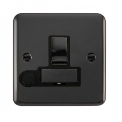Click Deco Plus Black Nickel 13A Fused Ingot Switched Connection Unit with Flex Outlet and Black Insert
