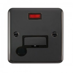 Click Deco Plus Black Nickel 13A Fused Ingot Connection Unit with Flex Outlet, Neon, and Black Insert