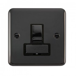 Click Deco Plus Black Nickel 13A Fused Ingot Switched Connection Unit with Black Insert