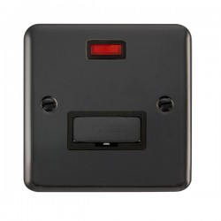 Click Deco Plus Black Nickel 13A Fused Ingot Connection Unit with Neon and Black Insert