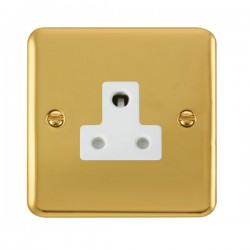 Click Deco Plus Polished Brass 5A Round Pin Socket with White Insert