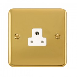 Click Deco Plus Polished Brass 2A Round Pin Socket with White Insert