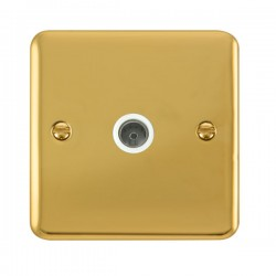 Click Deco Plus Polished Brass Single Coaxial Socket with White Insert