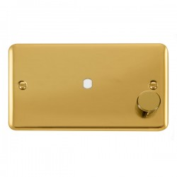 Click Deco Plus Polished Brass 2 Gang Single Aperture Dimmer Plate with Matching Knob