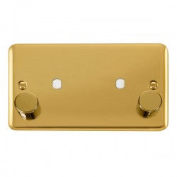 Click Deco Plus Polished Brass 2 Gang Twin Aperture Dimmer Plate with Matching Knobs