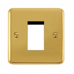 Click Deco Plus Polished Brass 1 Gang Single Aperture Plate