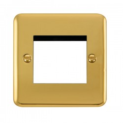 Click Deco Plus Polished Brass 1 Gang Twin Aperture Plate