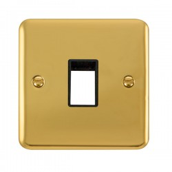 Click Deco Plus Polished Brass 1 Gang Single Aperture Plate with Black Insert