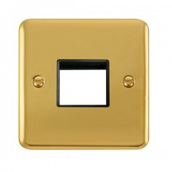 Click Deco Plus Polished Brass 1 Gang Twin Aperture Plate with Black Insert