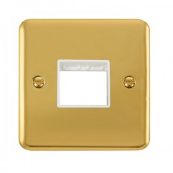 Click Deco Plus Polished Brass 1 Gang Twin Aperture Plate with White Insert