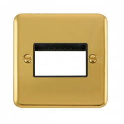 Click Deco Plus Polished Brass 1 Gang Triple Aperture Plate with Black Insert
