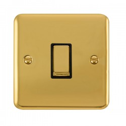 Click Deco Plus Polished Brass 1 Gang 10AX 2 Way Ingot Switch with Black Insert