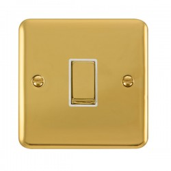 Click Deco Plus Polished Brass 1 Gang 10AX 2 Way Ingot Switch with White Insert
