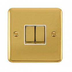 Click Deco Plus Polished Brass 2 Gang 10AX 2 Way Ingot Switch with White Insert