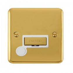 Click Deco Plus Polished Brass 13A Fused Ingot Connection Unit with Flex Outlet and White Insert