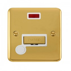 Click Deco Plus Polished Brass 13A Fused Ingot Connection Unit with Flex Outlet, Neon, and White Insert
