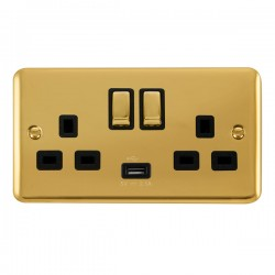 Click Deco Plus Polished Brass 2 Gang 13A Ingot Switched Socket with USB Outlet and Black Insert