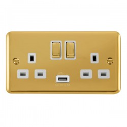 Click Deco Plus Polished Brass 2 Gang 13A Ingot Switched Socket with USB Outlet and White Insert