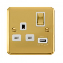 Click Deco Plus Polished Brass 1 Gang 13A Ingot Switched Socket with USB Outlet and White Insert