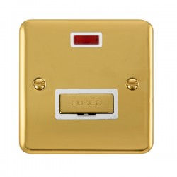 Click Deco Plus Polished Brass 13A Fused Ingot Connection Unit with Neon and White Insert