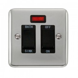 Click Deco Plus Polished Chrome 20A Double Pole Sink/Bath Switch with Neon and Black Insert