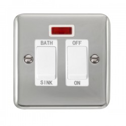 Click Deco Plus Polished Chrome 20A Double Pole Sink/Bath Switch with Neon and White Insert