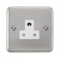 Click Deco Plus Polished Chrome 5A Round Pin Socket with White Insert