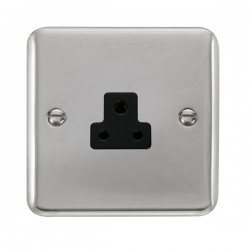 Click Deco Plus Polished Chrome 2A Round Pin Socket with Black Insert