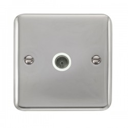 Click Deco Plus Polished Chrome Single Coaxial Socket with White Insert