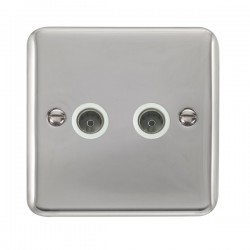 Click Deco Plus Polished Chrome Twin Coaxial Socket with White Insert