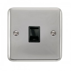 Click Deco Plus Polished Chrome Single RJ11 Socket (Ireland/USA) with Black Insert