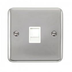 Click Deco Plus Polished Chrome Single RJ11 Socket (Ireland/USA) with White Insert