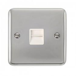 Click Deco Plus Polished Chrome Single Telephone Master Socket with White Insert
