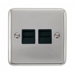 Click Deco Plus Polished Chrome Twin Telephone Master Socket with Black Insert
