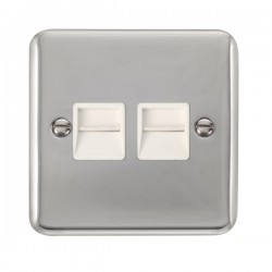 Click Deco Plus Polished Chrome Twin Telephone Master Socket with White Insert