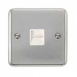 Click Deco Plus Polished Chrome Single Telephone Secondary Socket with White Insert