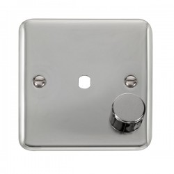 Click Deco Plus Polished Chrome 1 Gang Single Aperture Dimmer Plate with Matching Knob