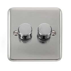 Click Deco Plus Polished Chrome 2 Gang 2 Way 400W Dimmer Switch