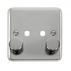 Click Deco Plus Polished Chrome 1 Gang Twin Aperture Dimmer Plate with Matching Knobs