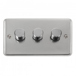 Click Deco Plus Polished Chrome 3 Gang 2 Way 400W Dimmer Switch