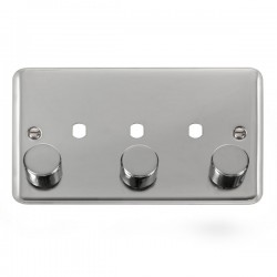 Click Deco Plus Polished Chrome 2 Gang Triple Aperture Dimmer Plate with Matching Knobs