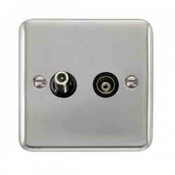 Click Deco Plus Polished Chrome 1 Gang Isolated Satellite and Coaxial Socket with Black Insert